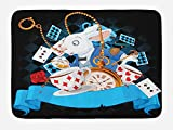 Ambesonne Alice in Wonderland Bath Mat, Rabbit Motion Cups Hearts and Flower Character Alice Cartoon Style, Plush Bathroom Decor Mat with Non Slip Backing, 29.5' X 17.5', Black Blue