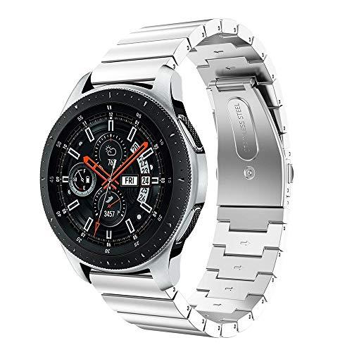 Angersi 22mm La Pulsera sólida del Metal de la Correa de la muñeca del Acero Inoxidable Fija el reemplazo Compatible con Samsung Galaxy Watch 46mm/Galaxy watch3 45mm