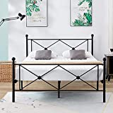 DIKAPA bedinnovation Full Size Bed Frame/Metal Platform Mattress Foundation/Box Spring Replacement with Headboard Black/Easy to Assemble/Quiet Noise-Free/Maximum Under-Bed Storage,