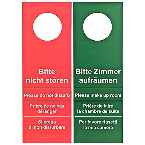 50 Stück Türschild Hotel Bitte nicht stören - Zimmer aufräumen rot / grün (GROSSE AUSFÜHRUNG - 28cm lang)