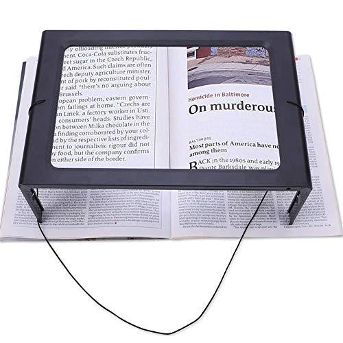 XRZS LED Lupen 3X Tischlupe mit Licht A4 Leselupen Groß Rechteckiges Standlupe mit Klappständer Lesehilfen für Senioren,Bücher,Lesen,Nähen,Kochbuch,Edelstein,Geschenk