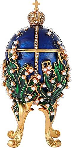 LiuliuBull Caja clásica de la Lanza de joyería de la Vendimia con el Esmalte de Diamantes de Esmalte Adornos de Estilo Victoriano Regalo para la decoración del hogar (Color : Blue)