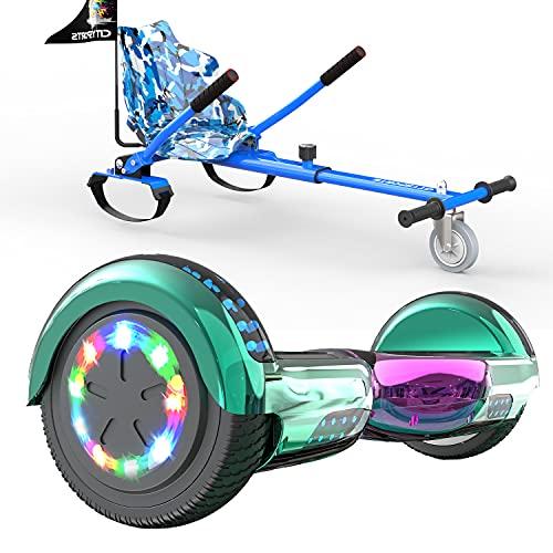SOUTHERN WOLF Hoverboard y Kart Bundle, Scooter autoequilibrado de 6.5 Pulgadas, Altavoz Bluetooth y Luces LED de Rueda Hoverboards para niños, con Asiento de Kart, niños y Adolescentes