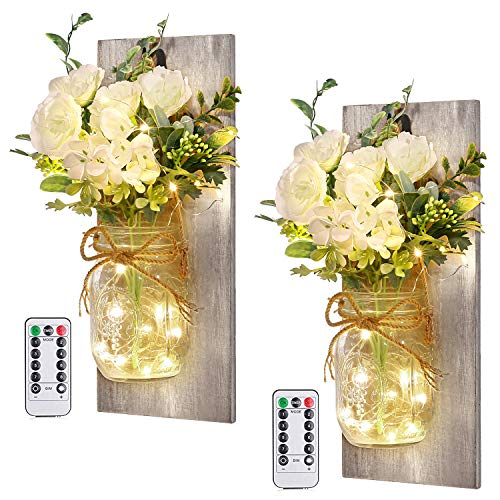Home Decor Mason Jar Sconces - Rustic Farmhouse Hanging Wall Decor with Remote Control Fairy Lights and White Rose for Bedroom Wall Decor Living Room Kitchen Decorations Set of Two