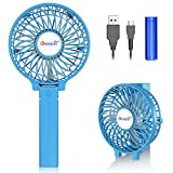 VersionTECH. Mini Handheld Fan, USB Desk Fan, Small Personal Portable Table Fan with USB Rechargeable Battery Operated Cooling Folding Electric Fan for Travel Office Room Household Blue