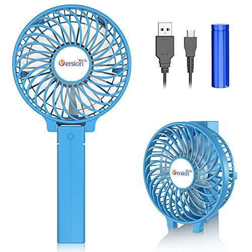 VersionTECH. Mini Ventilatore Portatile USB, Ventilatore da Tavolo Silenzioso da Scrivania con Manico Pieghevole 3 velocità,Batteria Ricaricabile,per la Famiglia della Stanza dell'ufficio di Viaggio