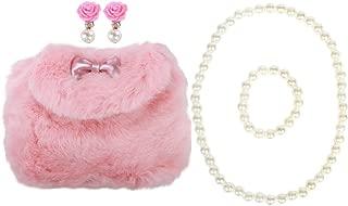 Little Girls Plush Purse Handbag Shoulder Bags + Faux Pearl Jewelry Set