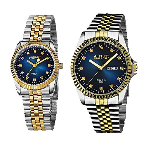 August Steiner Matching His and Hers Glamorous Watch Gift Set- Stainless Steel Bracelet - Perfect Gift (Two-Tone Gold & Blue) AS8201
