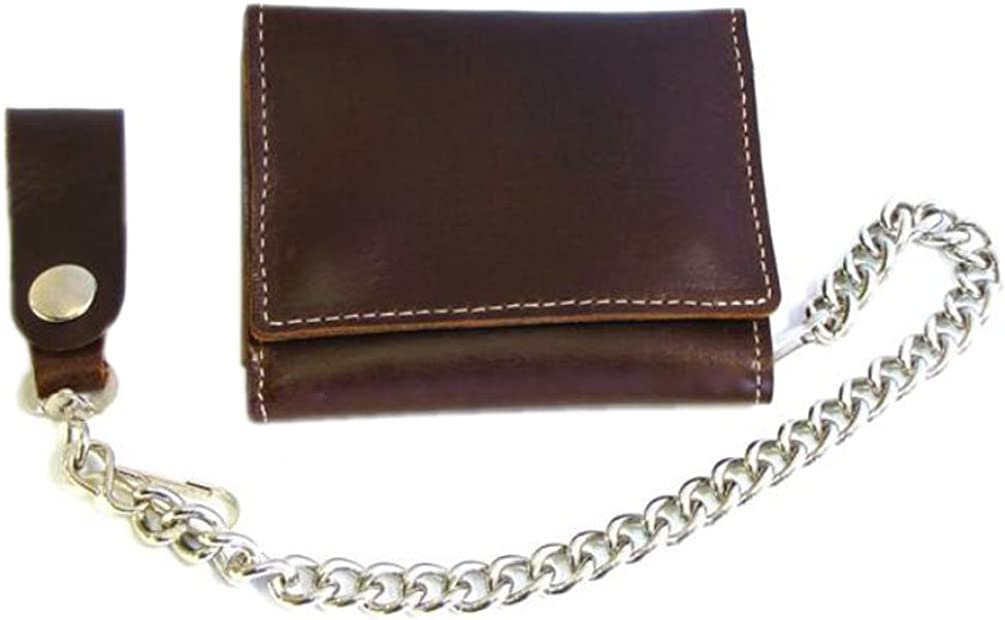Biker Men's Premium Large Tri-Fold Leather Wallet with Chain, Brown CP315