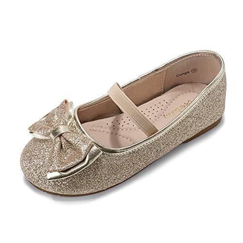 DeerBunny Toddler/Little Kids Girls Ballet Mary Jane Flats Shoes Wedding Princess Dress Shoe (7 M US Toddle, Light Gold Glitter-1)