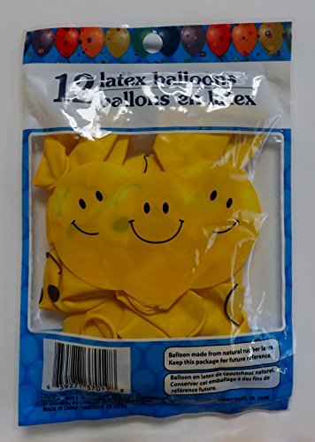 Smiley Face Latex Balloons - Pack of 12