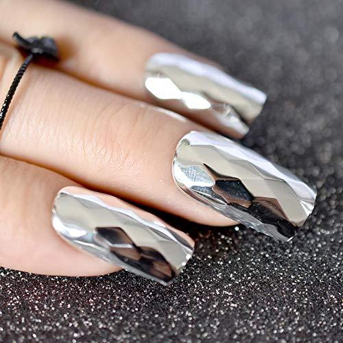 TJJF 3D métal miroir argent faux ongles losange métallique Punk Style carré faux ongles acrylique ongles conseils bricolage Art mariée fête
