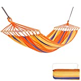 KingCamp Single Portable Brazilian Cotton Hammock with Foldable Wood Spreader Bars Ropes for Indoor Outdoor Garden Patio Backyard Yard Camping Porch Travel Tree, Supports 220lbs, Orange