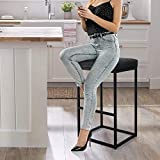 INDIAN DECOR. 21043 Bar Stool / Breakfast Stool with Cushion Bar Height Bar Stool for Kitchen Counter Modern Upholstered Barstool Island Stool with PU Leather, 1 Stool (28 Inch, Black)