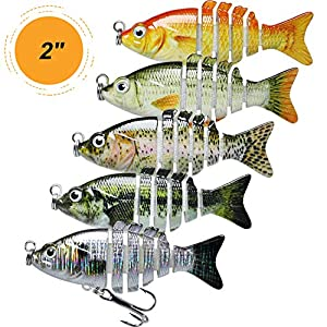 TRUSCEND Topwater Fishing Lures for Bass, Floating Multi Jointed Swimbait, Lifelike Sunfish/Duck/Mouse Swimmer for Trout Perch Pike Crappie Walleye Fishing