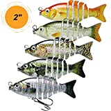 TRUSCEND Topwater Fishing Lures for Bass, Floating Multi Jointed Swimbait, Lifelike Sunfish\/Duck\/Mouse Swimmer for Trout Perch Pike Crappie Walleye Fishing