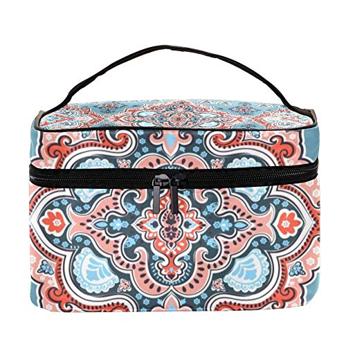 TIZORAX Indian Flower Paisley Cosmetic Bag Travel Toiletry Case Large Makeup Organizer Box