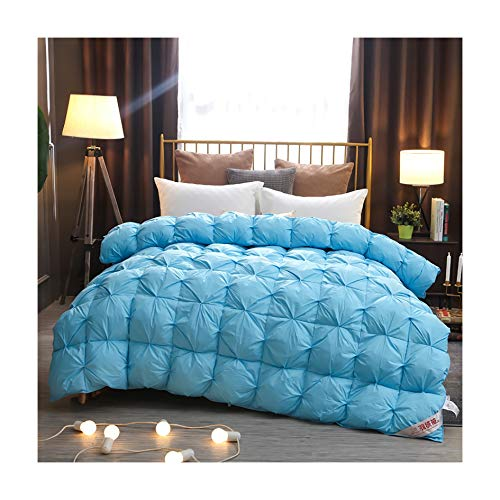 King Size Duvet - Feather-Proof Fabric Anti-Allergen 7.5-15 Tog Luxurious Goose Feather & Down Quilt, Filling: 95% Velvet, 100% Cotton Shell,Blue,220 * 240CM 15T 4.5KG