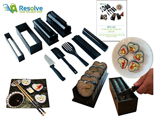 DIY Sushi Making Kit (10 Pieces) by Resolve   At Home Japanese Sushi Roll Maker Set for Beginners   5 Unique Mold Shapes with Convenient Cutting Guide, Spatula and Rice Fork   Free eBook