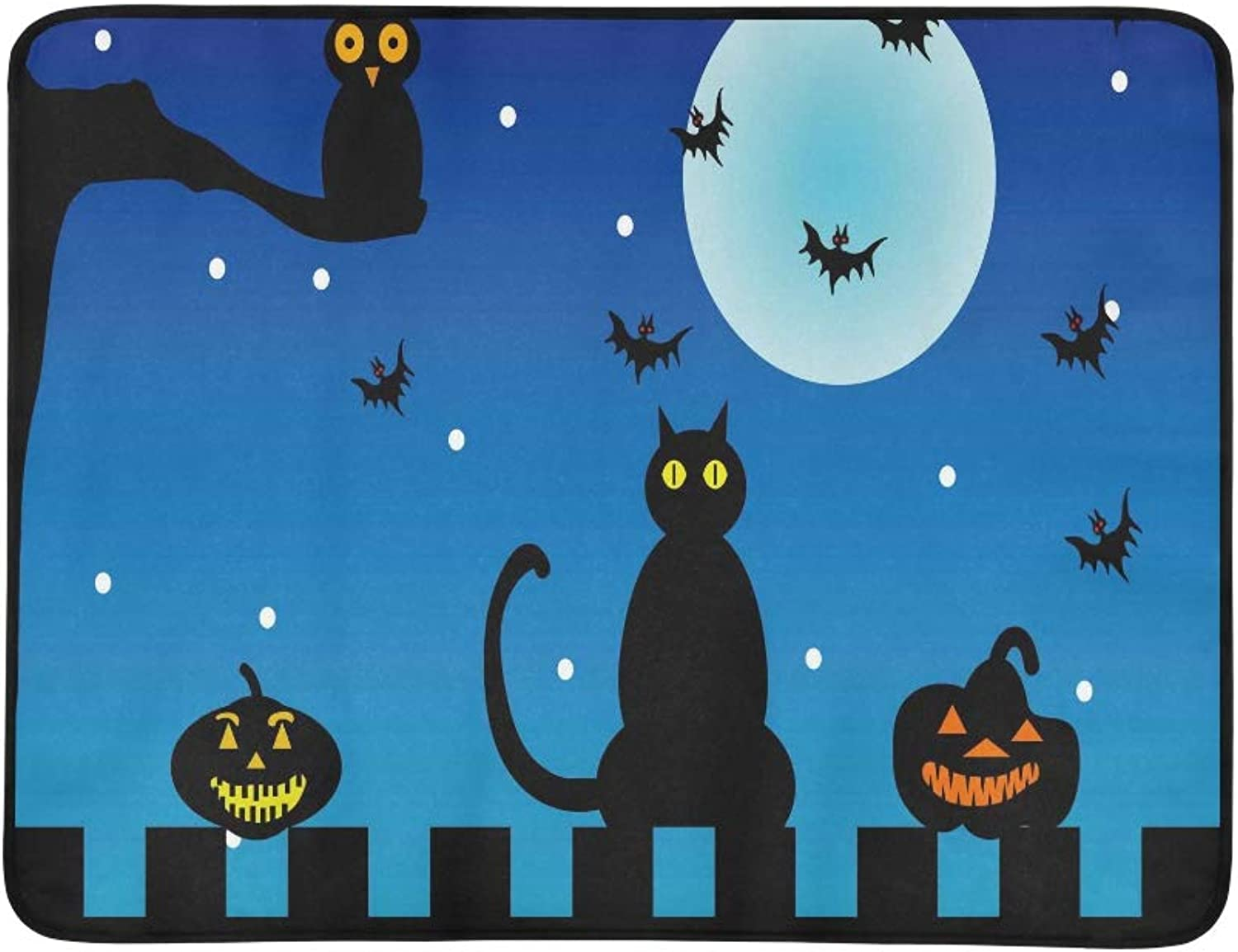 Cat Owl and Pumpkins in The Dark On Halloweenhall Pattern Portable and Foldable Blanket Mat 60x78 Inch Handy Mat for Camping Picnic Beach Indoor Outdoor Travel