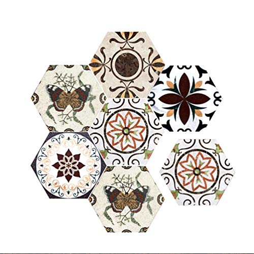 Baijiaye 5 stuks (1 set) zeshoekige verwijderbare muurstickers zelfklevende waterdichte kunststickers keuken badkamer woondecoratie wandtegel Tegelpatroon 3# 11.81 * 9.84 * 0.19inch
