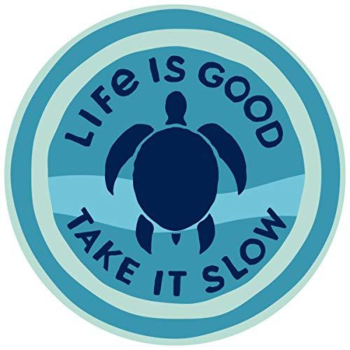 "Life is Good. 4"" Circle Sticker: Take It Slow Turtle"
