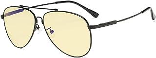Eyekepper Computer Reading Glasses Anti Blue Light Eyeglasses Pilot Style Memory Frame-Yellow Tinted Lens Women Men