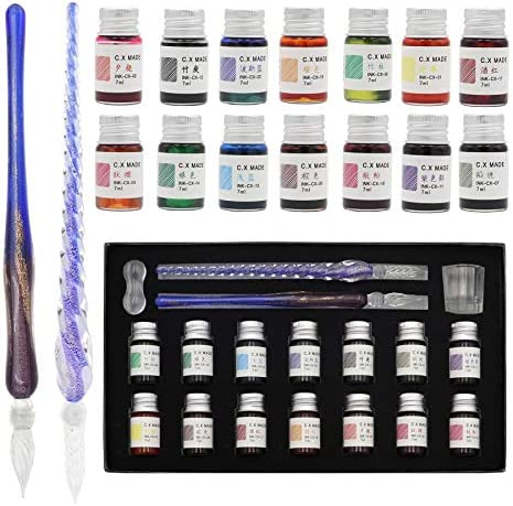 AXEARTE Glass Dip Pen Set 18 Pieces Calligraphy Pens Set 14 Color Inks Pen Holder Cleaning Cup product image