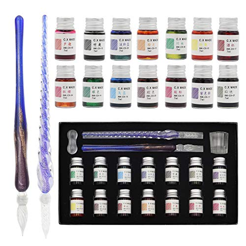 AXEARTE Glass Dip Pen Set, 18-Pieces Calligraphy Pens Set - 14 Color Inks, Pen Holder, Cleaning Cup, 2 Crystal Glass Pens for Art, Writing, Drawing, Signatures, Gift for Kids and Artist