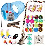 URBZUE Cat Toys, 33 Pieces Kitten Toys Assorted, Cat Tunnel, Cat Catnip Toy, Cats Feather Teaser, Fl...