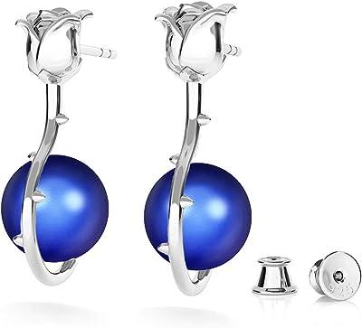 Beforya Paris – Orecchini in argento 925 – rosa – molti colori – Orecchini con perle di Swarovski® – Bellissimi orecchini da donna – Meravigliosi orecchini con scatola portagioie PIN/75