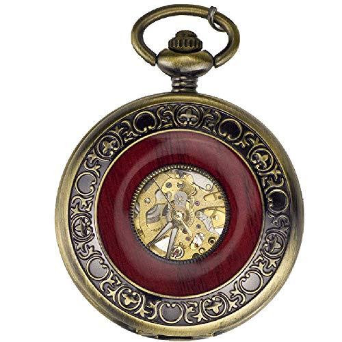 Water cup Reloj de Bolsillo Vintage Reloj Colgante mecánico automático con Calado de Grano de Madera Retro para Personas Mayores, Espesor del dial: 13 Mm Diámetro del dial: 46 Mm
