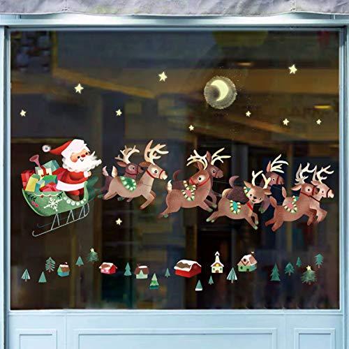 decalmile Weihnachten Fenster Wandtattoo Weihnachtsbaum und Rentiere Kinderzimmer Wandsticker Fensteraufkleber Weihnachtsdekoration