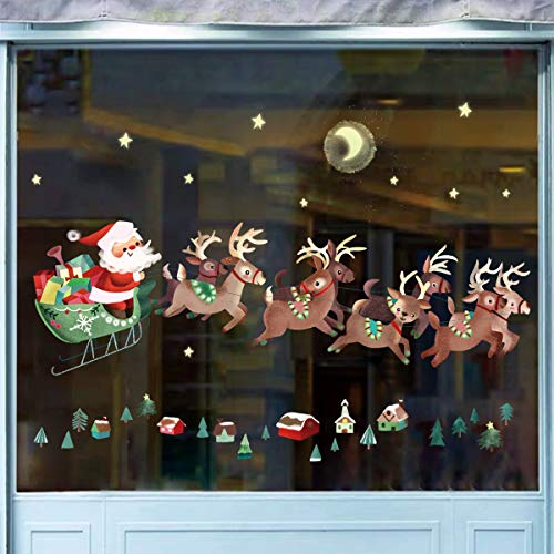 decalmile Adesivo Murale Natale Babbo Natale e Renna Vetrofanie Bambini Adesivi da Parete Finestra Vetrina Festa Decorazione Natalizia