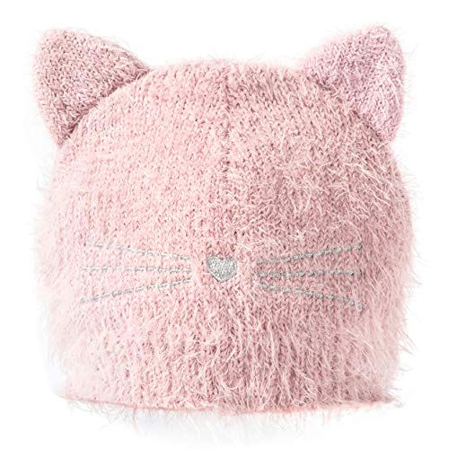 accsa Toddler Kid Girls Christmas Halloween Winter Fluffy Cat Ear Beanie Hat Pink 3-6Y