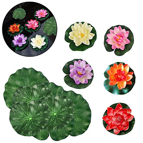 SwirlColor Floating Blumen Künstliche Lotus Blossom Floating Foam Lotus Blätter Teich Decor-5 PCS Floating Lotus & 10 PCS Schaumstoff Blätter