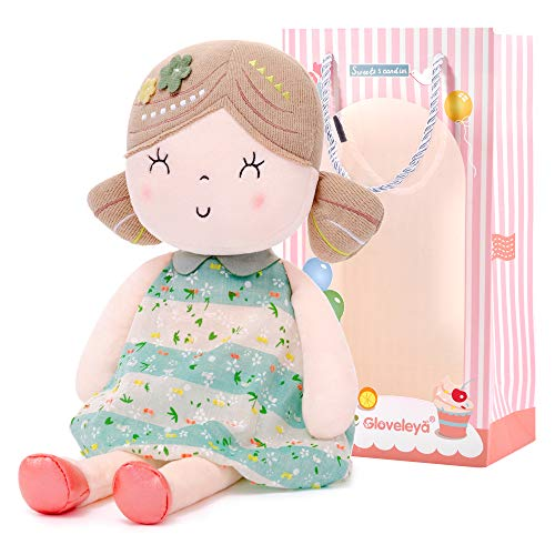 Gloveleya Baby Girl Gifts Soft First Baby Doll Plush Dolls Green 17 Inches with Gift Box