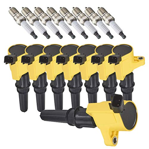 ENA Spark Plug and Heavy Duty Ignition Coil Pack Set of 8 Compatible with Ford...