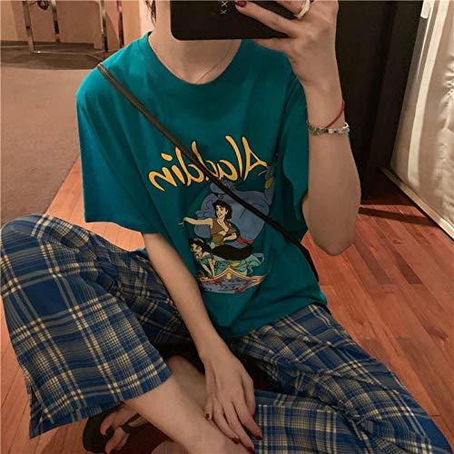 Wenhua Pijamas Mujer Sedoso, Ropa de hogar para Damas Delgadas de Dibujos Animados de Seda y algodón, Aladdin_MPijamas Mujer Verano Largo del Pijamas Pantalones