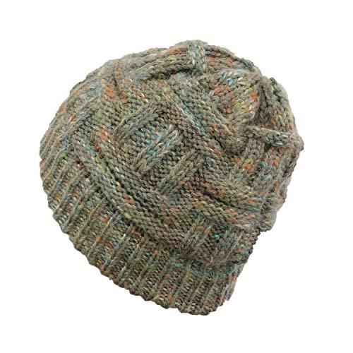 Herbst Und Winter Gestrickte Wolle Hut Farbe Ärmel Warme Mütze 20 * 21Cm Bunte Grüne Asche