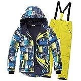 SXSHUN Combinaison de Ski/Neige Manteau et Salopettes Pantalons Epaisse Imperméable Coup Vent pour Enfant Fille Garçon 3-16 Ans, Bleu + Jaune, 9-10 Ans/Stature 130-140cm