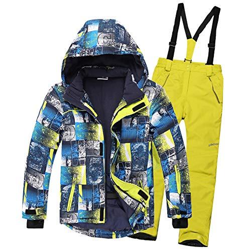 LPATTERN Kinder Jungen/Mädchen Skifahren Bekleidung 2 Teilig Schneeanzug Skianzug(Skijacke+ Skihose), Blau Gelb Jacke+ Gelb Trägerhose, 158/164