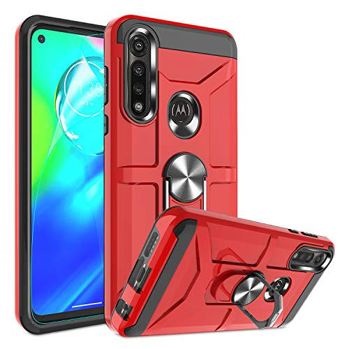 Atump Moto G Power Case 2020 with HD Screen Protector, 360° Rotation Ring Holder Kickstand [Work with Magnetic Car Mount] PC+ TPU Phone Case for Motorola Moto G Power, Red