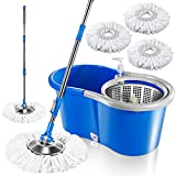 Deluxe 360 Spin Mop Upgraded Stainless Steel Bucket 9.8'x18'x7.9' with 3 Pcs Microfiber Mop Heads Floor Cleaning System and Adjustable Mop Pole