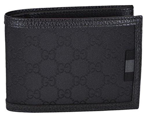 Gucci Men's Smooth Black Canvas Web Tab GG Guccissima Bifold Wallet