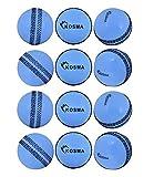 Kosma Juego de pelota de cricket Windball de 12 piezas | Pelotas de entrenamiento blandas | Pelotas de entrenamiento para habilidades de entrenamiento en interiores - Color: azul con costura negra