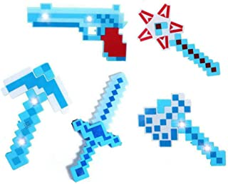 Set of 5 DIAMOND Pixel Weapons LED Light Up Pixel Battle Toy for Boys and Girls - 8 Bit Pistol Deluxe STYLE with LED Light up and FX Sounds -Sword Axe Pickaxe Star and Gun-3 Colors for Chioce (Blue)