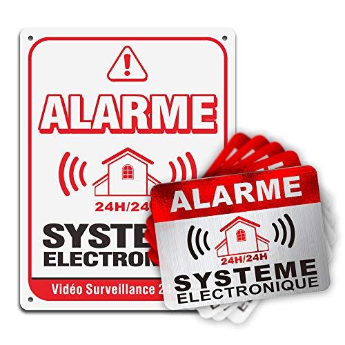 Autocollant Alarme dissuasifs Stickers Alarme sécurité,1 PVC Panneau épaisseur 0.38mm 21 * 16cm Côté imprimé adhésif et 8 Autocollants 8 * 6 cm Total 9 pièces