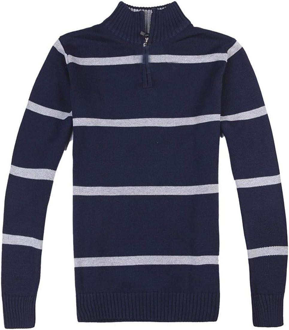LuckyBov Men Stripe Quarter Zip Sweater Cotton Comfortable Stretch Cardigan