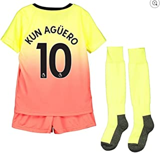 Fimng Kun Agüero #10 2019-2020 Manchester City Kids/Youths Third Soccer Jersey/Short/Socks Colour Yellow/Red